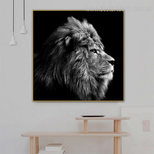 Leo Face Animal Framed Modern Painting Image Canvas Print for Room Wall Tracery