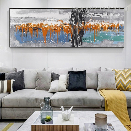 Scratches Panoramic Abstract Framed Contemporary Effigy Photo Canvas Print for Living Room Wall Decor