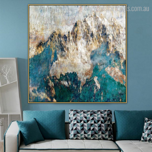 Golden Mountains Abstract Framed Nature Painting Picture Canvas Print for Room Wall Getup