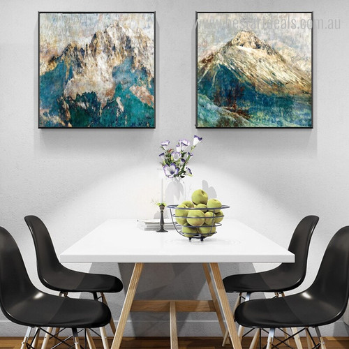 Golden Mountainsides Abstract Framed Nature Painting Image Canvas Print for Dining Room Wall Getup