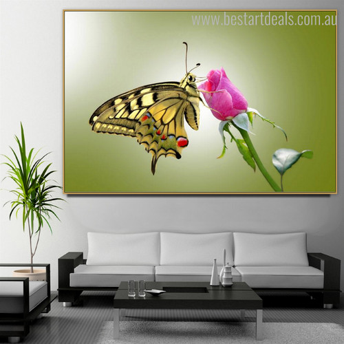 World Swallowtail Butterfly Animal Framed Contemporary Smudge Image Canvas Print for Room Wall Finery