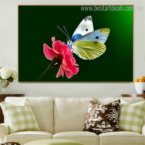 Chromatic Painted Lady Animal Framed Floral Modern Painting Picture Canvas Print for Room Wall Outfit