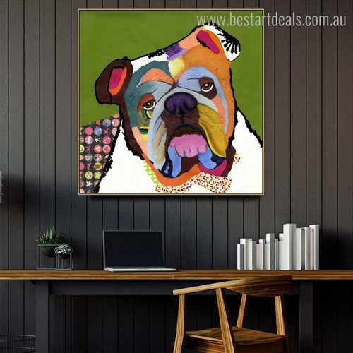 English Bulldogge Face Animal Framed Painting Image Canvas Print for Study Room Wall Decor