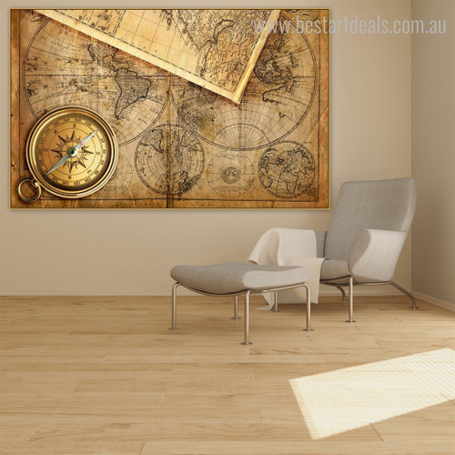 World Design Vintage Framed Painting Picture Canvas Print for Room Wall Outfit