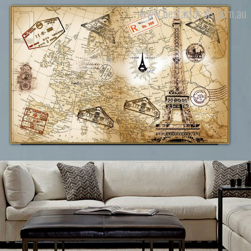 World Map Pattern Vintage Framed Painting Picture Canvas Print for Room Wall Adornment