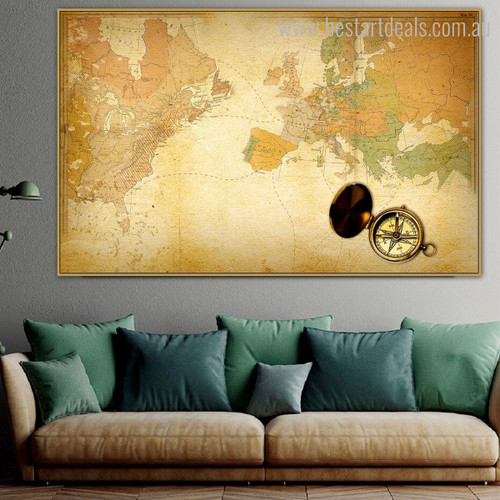 World Lay Vintage Framed Smudge Portrait Canvas Print for Room Wall Moulding