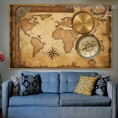 World Delineation Vintage Framed Canvas Artwork Image Canvas Print For Room Wall Getup