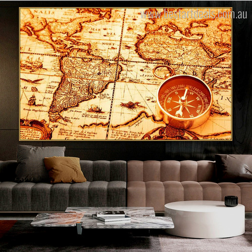 Navigation Compass Vintage Framed Painting Picture Canvas Print for Room Wall Getup