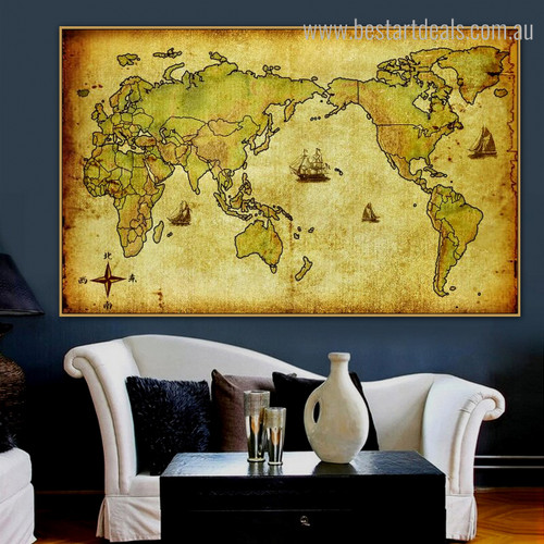 World Trace Vintage Framed Painting Picture Canvas Print for Room Wall Decor