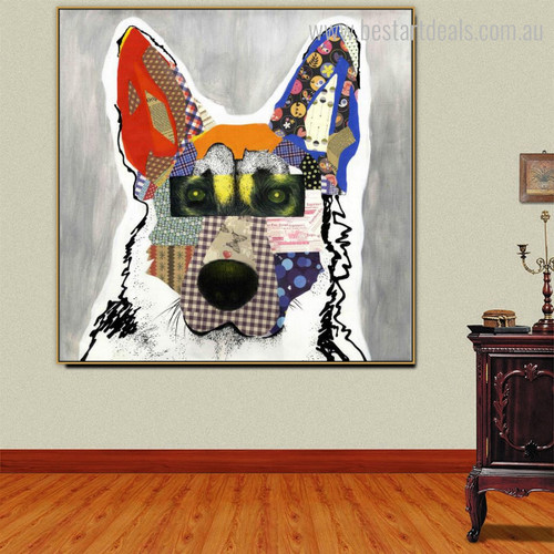 German Shepherd Dog Abstract Animal Framed Modern Painting Picture Canvas Print for Room Wall Decor