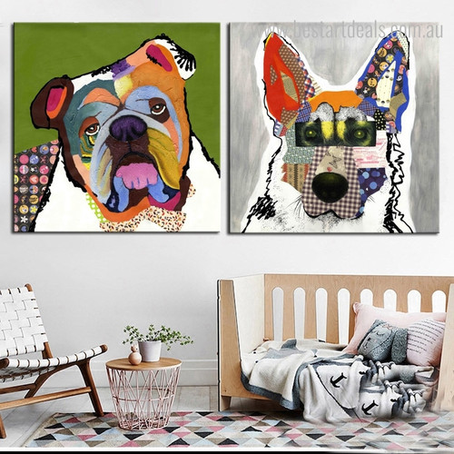 Pet Dogs Abstract Animal Framed Modern Painting Picture Canvas Print for Kids Room Wall Assortment
