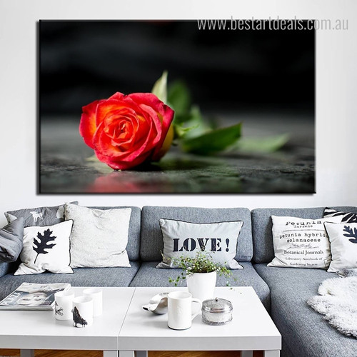 Red Rose Floral Framed Modern Painting Picture Canvas Print for Room Wall Decor