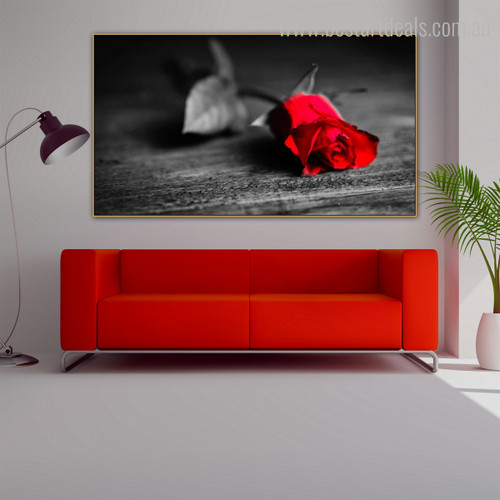 Vermilion Rose Modern Framed Floral Canvas Artwork Image Print for Room Wall Decor