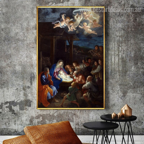 Adoration of Shepherds Vintage Reproduction Painting Picture Canvas Print for Room Wall Onlay