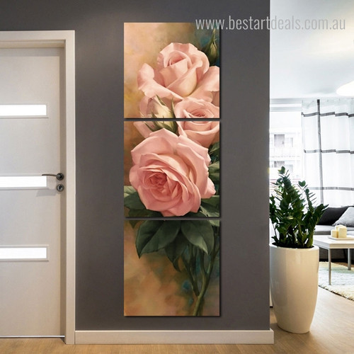 Pink Roses Floral Framed Modern Effigy Photos Canvas Print for Room Wall Decor