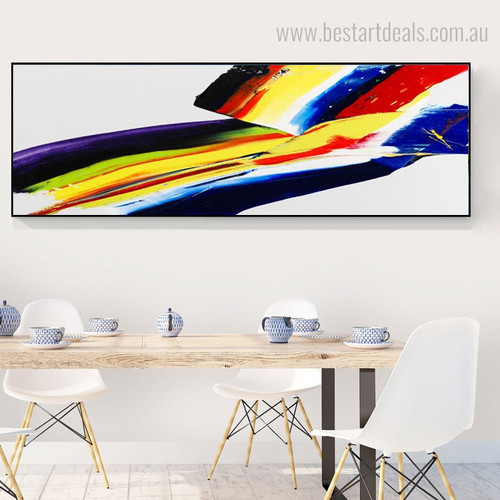 Abstract Watercolor Rainbow Framed Contemporary Panoramic Painting Picture Canvas Print for Wall Tracery