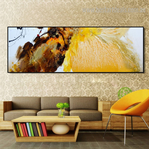 Golden Orange Abstract Modern Framed Panoramic Smudge Image Canvas Print for Room Wall Ornament
