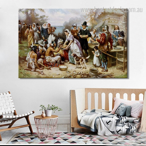 The First Thanksgiving Vintage Reproduction Painting Picture Canvas Print for Room Wall Decor