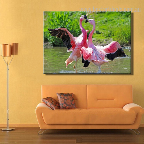 Two Flamingos Birds Botanical Modern Nature Framed Vignette Picture Canvas Print for Room Wall Decor
