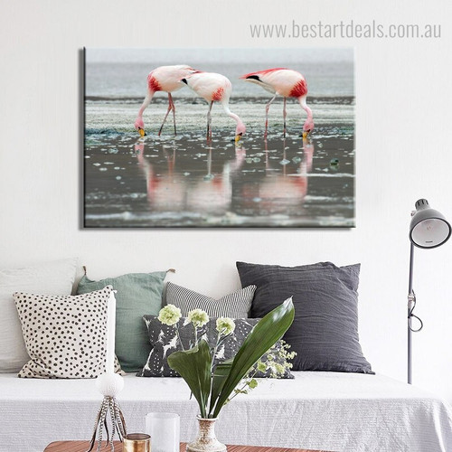 Flamingos Group Birds Modern Nature Framed Portmanteau Image Canvas Print for Room Wall Flourish