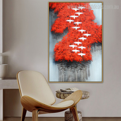 Red Forest Nature Group Abstract Modern Framed Painting Picture Canvas Print for Room Wall Molding