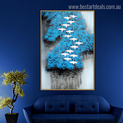Blue Arbors Birds Abstract Modern Framed Portmanteau Image Canvas Print for Room Wall Getup