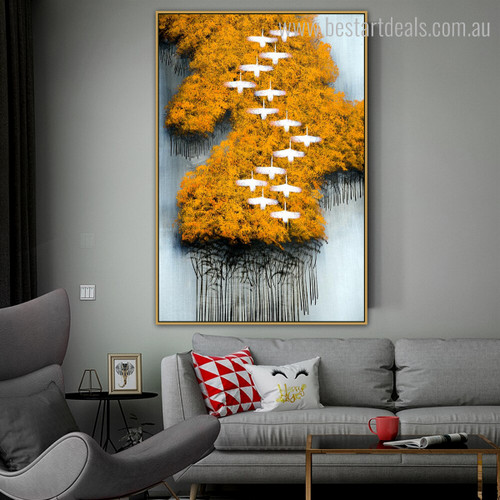 Yellow Trees Abstract Birds Modern Framed Painting Photo Canvas Print for Room Wall Decor