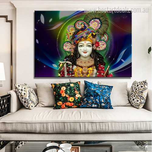 Krishna Floral Religious Framed Painting Picture Canvas Print for Room Wall Finery