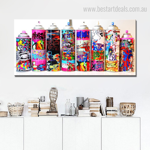 Paint Bottles Animated Abstract Modern Framed Painting Image Canvas Print for Room Wall Decor