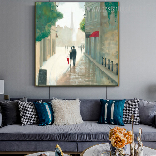 Romantic Town Cityscape Abstract Framed Modern Painting Image Canvas Print for Living Room Wall Outfit