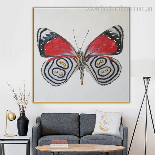 Meadow Fritillary Animal Framed Modern Vignette Portrait Canvas Print for Room Wall Getup