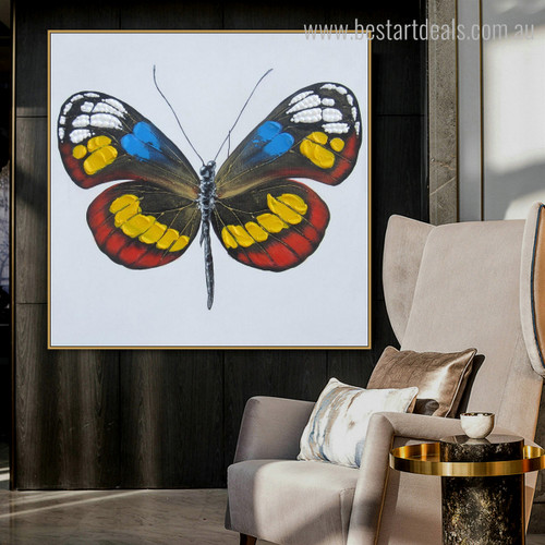 Colorific Butterly Animal Abstract Modern Framed Painting Photo Canvas Print for Living Room Wall Decor