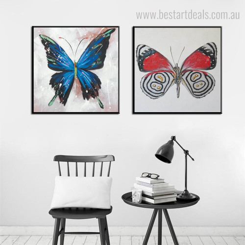 Swallowtail and Boloria Animal Abstract Modern Framed Painting Picture Canvas Print for Room Wall Decor