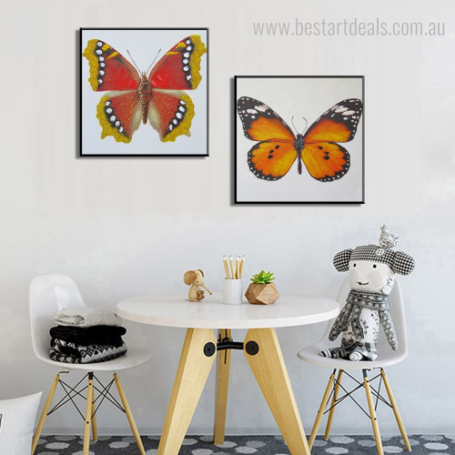 Viceroy and Comma Contemporary Abstract Animal Framed Effigy Image Canvas Print for Room Wall Decor