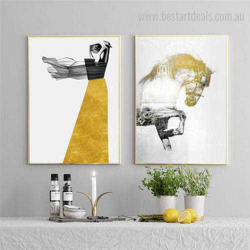 Horse Lady Abstract Animal Nordic Cityscape Figure Painting Image Canvas Print for Room Wall Garnish
