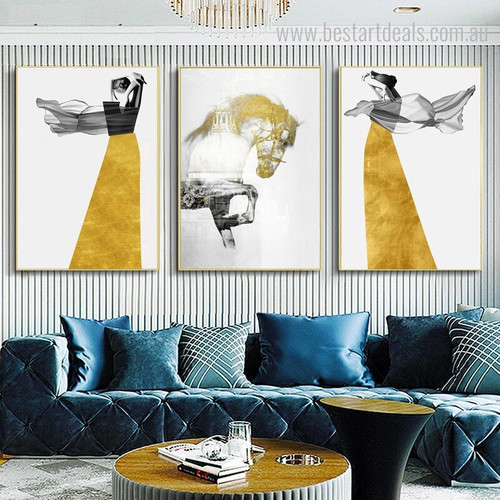 Steed Animal Cityscape Abstract Nordic Figure Framed Painting Photo Canvas Print for Room Wall Getup