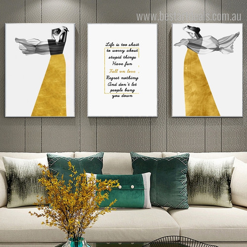 Lady Life Abstract Nordic Figure Quotes Canvas Artwork Picture Print for Room Wall Decor
