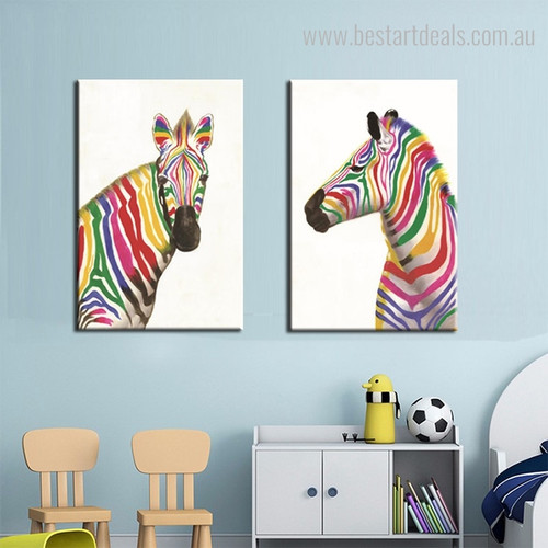 Shot Zebras Abstract Animal Framed Modern Painting Picture Canvas Print for Kids Room Wall Disposition