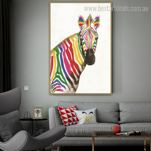 Calico Zebra Abstract Animal Watercolor Framed Modern Effigy Image Canvas Print for Room Wall Getup