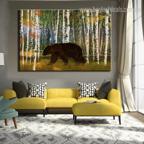 Bruin Abstract Modern Botanical Animal Framed Painting Photo Canvas Print for Living Room Wall Outfit