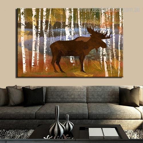 Reindeer Abstract Botanical Modern Animal Framed Smudge Image Canvas Print for Room Wall Garniture