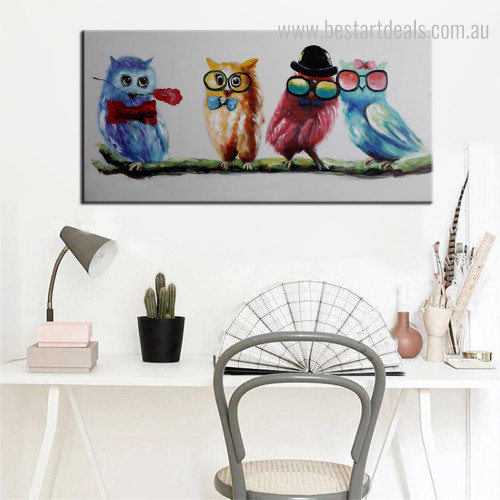 Cute Screeches Bird Modern Framed Smudge Picture Canvas Print for Living Room Wall Garnish