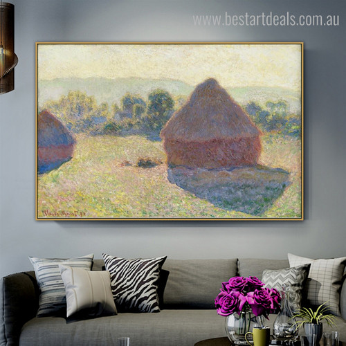 Haystacks (Midday) Impressionist Nature Painting Image Canvas Print for Living Room Wall Ornamentation