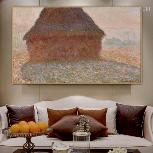 Grainstack in Sunshine Reproduction Nature Framed Impressionist Smudge Photo Canvas Print for Room Wall Decor