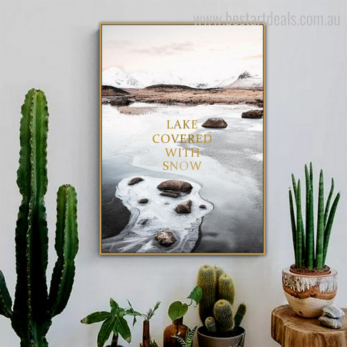 Lake Snow Nature Landscapes Framed Vignette Picture Canvas Print for Living Room Wall Equipment