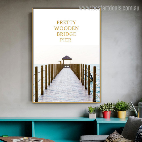 Wooden Bridge Pier Modern Nature Landscape Seascape Framed Painting Picture Canvas Print for Living Room Wall Decor