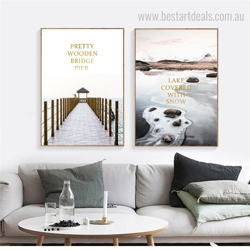 Bridge Snow Modern Framed Nature Landscape Painting Portrait Canvas Print for Room Wall Decor