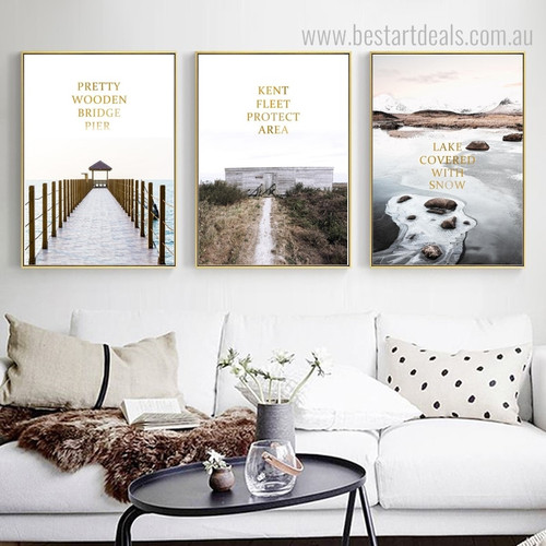 Bridge Fleet Snow Nature Landscapes Contemporary Framed Painting Photo Canvas Print for Room Wall Flourish