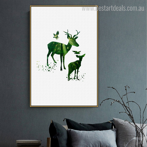 Brocket Animal Botanical Minimalist Nordic Framed Painting Photo Canvas Print for Room Wall Adornment