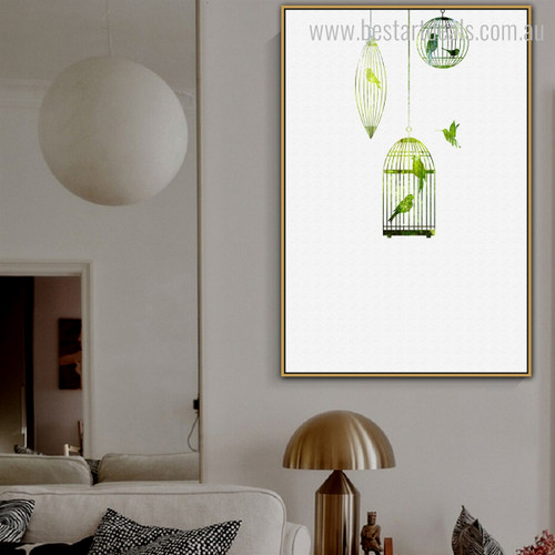 Cage Nordic Minimalist Nature Framed Painting Photo Canvas Print for Lounge Room Wall Flourish